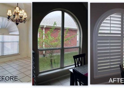 before and after white arch shutter
