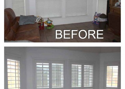 from blinds to white shutters