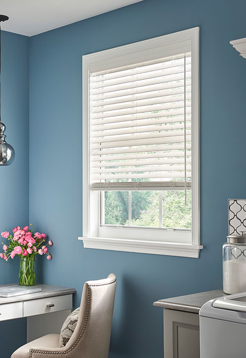 Window blinds in a room